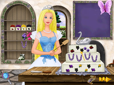Barbie as Princess Bride -- Baking and decording a cake while wearing an unnaturally glassy stare