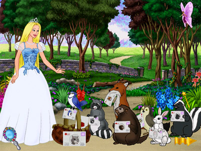 Barbie as Princess Bride -- handing out invitations to woodland creatures