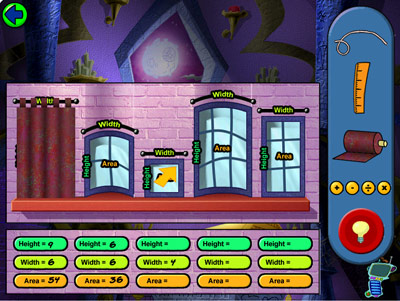 Cyberchase: Castleblanca Quest -- Drape measuring and cutting game