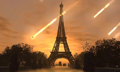 Golem intro FMV -- Meteors take down the Eiffel Tower