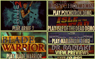 Selection Menu for a bunch of Merit-published titles