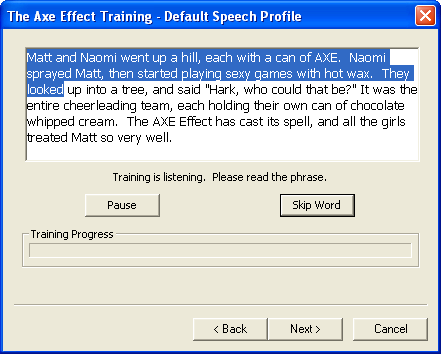 The Axe Effect: V.I.X.E.N.S.; speech recognition training