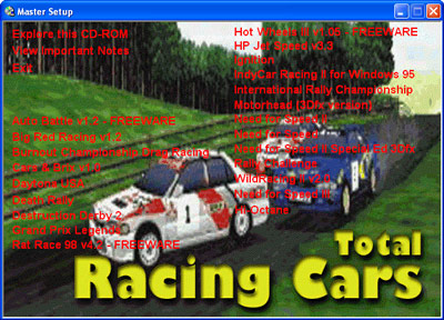 Total Racing Cars Menu