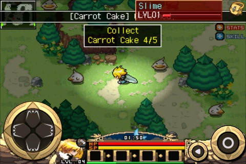 Zenonia -- mini-quest to reclaim carrot cake from slime monsters